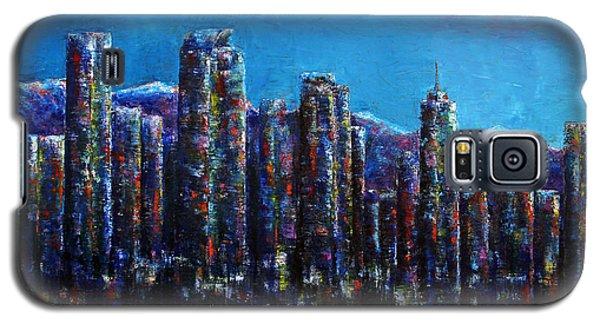 Galaxy S5 Case featuring the painting Frosty Night Downtown Denver Colorado by Jennifer Godshalk