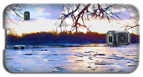 Frozen Delaware River Sunset Galaxy S5 Case by Robyn King