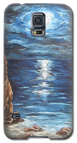 Galaxy S5 Case featuring the painting Full Moon Over Lake Ontario by Cheryl Pettigrew