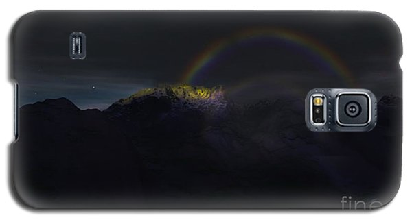 Galaxy S5 Case featuring the painting Full Moon Rainbow by Pet Serrano