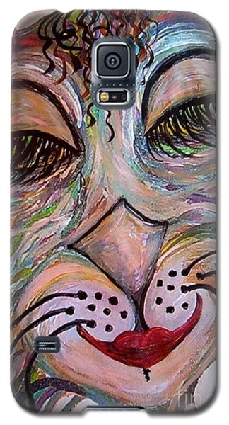 Galaxy S5 Case featuring the painting Funky Feline  by Eloise Schneider