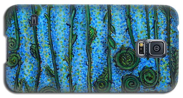 Galaxy S5 Case featuring the painting Funky Fiddleheads by Cynthia Lagoudakis