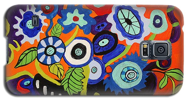 Galaxy S5 Case featuring the painting Funky Flowers 2 by Alison Caltrider