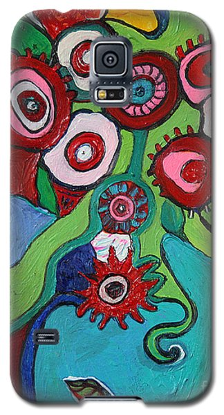 Galaxy S5 Case featuring the painting Funky Flowers And Vase by Alison Caltrider