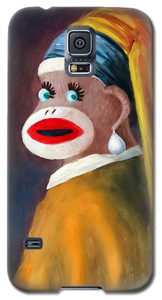 Galaxy S5 Case featuring the painting Gal With A Pearl Earbob by Randol Burns