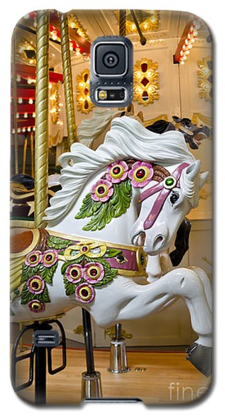 Galaxy S5 Case featuring the photograph Galloping White Beauty - Vintage Carousel Horse by Maria Janicki