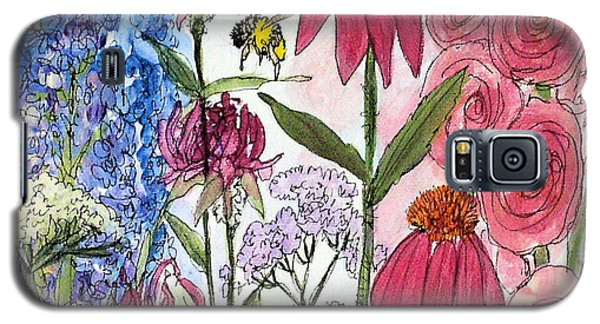 Galaxy S5 Case featuring the painting Garden Flower And Bees by Laurie Rohner