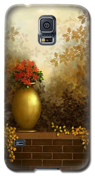 Galaxy S5 Case featuring the painting Garden Golds by Sena Wilson