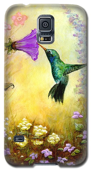 Galaxy S5 Case featuring the mixed media Garden Guest In Brown by Terry Webb Harshman