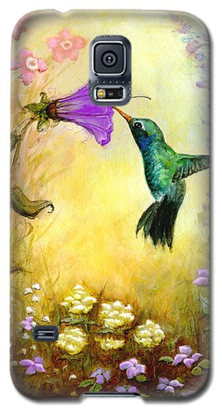 Galaxy S5 Case featuring the mixed media Garden Guest In Lavender by Terry Webb Harshman