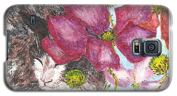 Galaxy S5 Case featuring the painting Garden Nap by Reina Resto