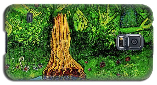 Galaxy S5 Case featuring the painting Garden Of Intent Eden For Pandemonium by D Renee Wilson