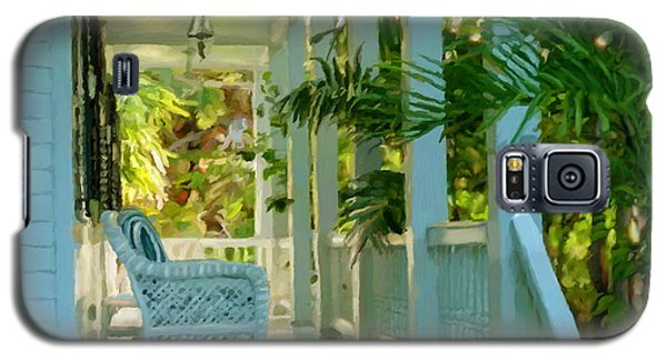 Galaxy S5 Case featuring the painting Gardens Porch In Key West by David  Van Hulst