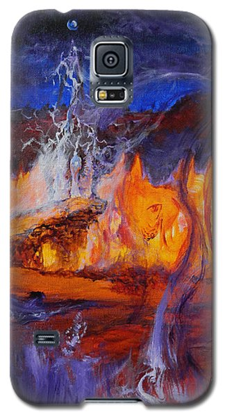 Galaxy S5 Case featuring the painting Gathering At Samhain's Bluff by Christophe Ennis