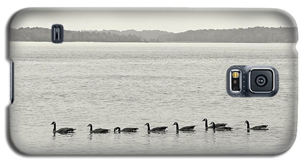 Galaxy S5 Case featuring the photograph Geese In A Row by Peg Urban