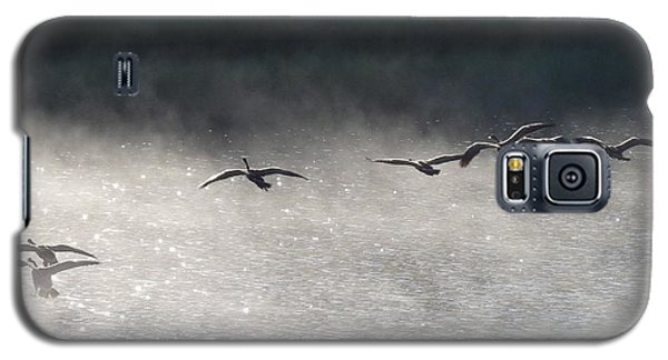 Geese Over Burgess Lake Galaxy S5 Case by Marilyn Burton
