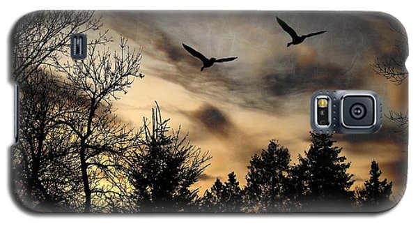 Galaxy S5 Case featuring the photograph Geese Silhouette by Marjorie Imbeau