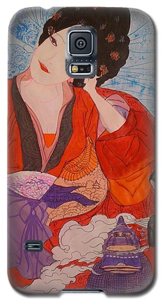 Galaxy S5 Case featuring the painting Geisha Girl by Judi Goodwin