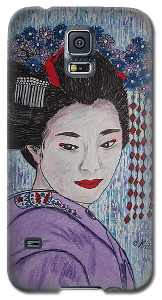 Galaxy S5 Case featuring the painting Geisha Girl by Kathy Marrs Chandler