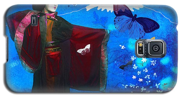 Geisha With Butterflies Galaxy S5 Case by Jeff Burgess