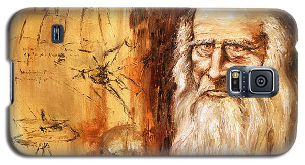 Galaxy S5 Case featuring the painting Genius   Leonardo Da Vinci by Arturas Slapsys