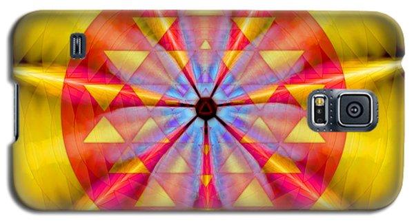 Galaxy S5 Case featuring the drawing Geo-cosmic Sri Yantra by Derek Gedney