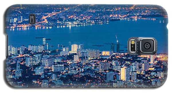 George Town Penang Malaysia Aerial View At Blue Hour Galaxy S5 Case by Jpldesigns