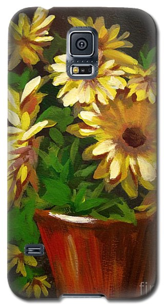 Galaxy S5 Case featuring the painting Gerber Daisies 3 by Carol Hart