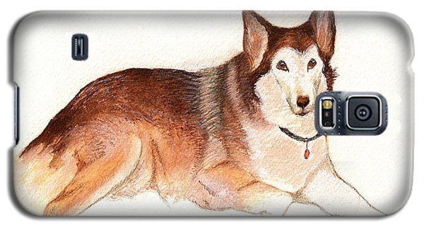 Galaxy S5 Case featuring the painting German Shepherd Dog by Nan Wright