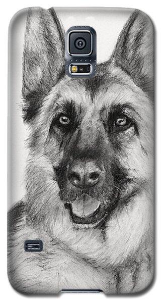 German Shepherd Drawn In Charcoal Galaxy S5 Case by Kate Sumners