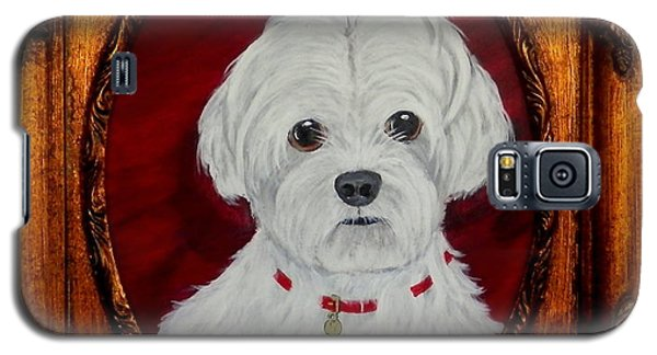 Galaxy S5 Case featuring the painting Gidget.my Maltese by Fram Cama