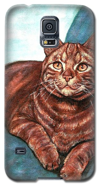 Galaxy S5 Case featuring the painting Ginger Tabby by VLee Watson