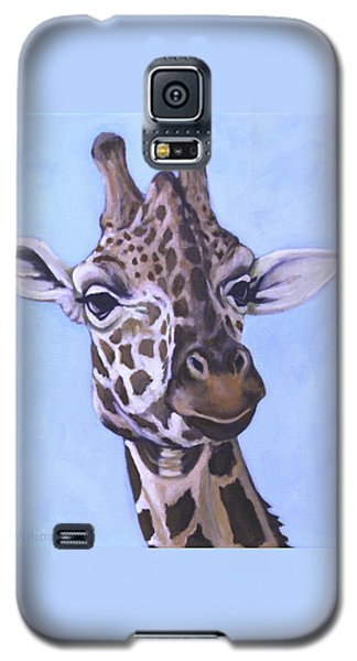 Galaxy S5 Case featuring the painting Giraffe Eye To Eye by Penny Birch-Williams
