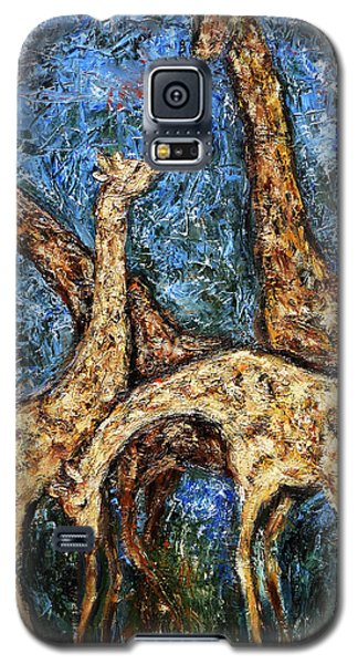 Galaxy S5 Case featuring the painting Giraffe Family by Xueling Zou