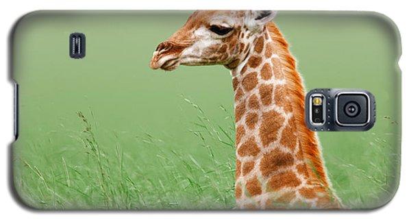 Giraffe Lying In Grass Galaxy S5 Case by Johan Swanepoel