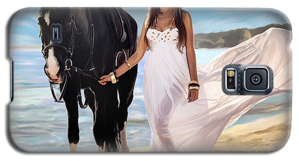 Galaxy S5 Case featuring the painting Girl And Horse On Beach by Tim Gilliland