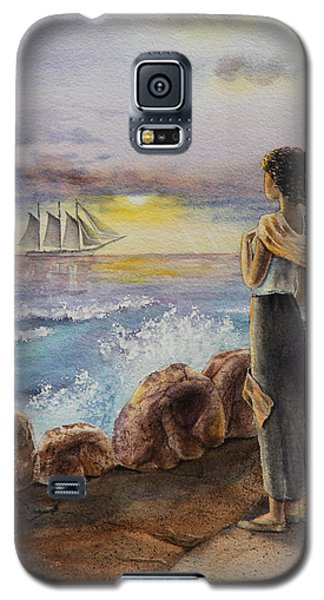 Galaxy S5 Case featuring the painting Girl And The Ocean Sailing Ship by Irina Sztukowski