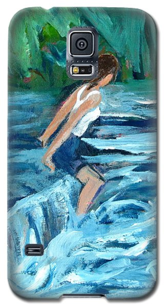 Galaxy S5 Case featuring the painting Girl Bathing In River Rapids by Betty Pieper