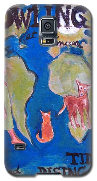 Galaxy S5 Case featuring the painting Girl Howling At The Moon And Rising Tides by Betty Pieper