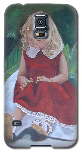 Galaxy S5 Case featuring the painting Girl In The Garden by Sharon Schultz