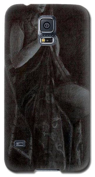 Galaxy S5 Case featuring the drawing Girl On Chair by Lynn Hughes