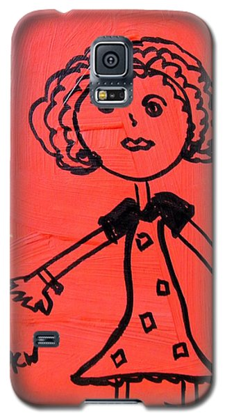 Galaxy S5 Case featuring the painting Girl On Red by Mary Carol Williams