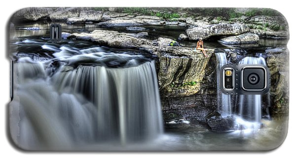 Girl On Rock At Falls Galaxy S5 Case