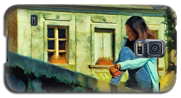 Galaxy S5 Case featuring the painting Girl Posing On Stone Wall by Jeff Kolker