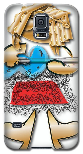 Galaxy S5 Case featuring the digital art Girl Rocker 6 String Guitar by Marvin Blaine