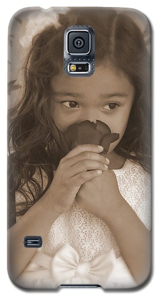 Galaxy S5 Case featuring the photograph Girl Smelling A Rose  by Heidi Manly