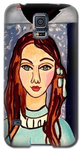 Girl With Blackbird Galaxy S5 Case