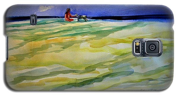 Girl With Dog On The Beach Galaxy S5 Case