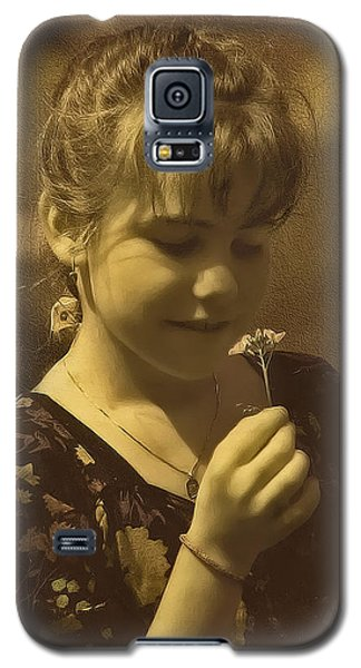 Girl With Flower Galaxy S5 Case