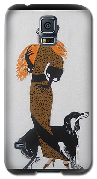 Galaxy S5 Case featuring the painting Girl With Orange Fur by Nora Shepley